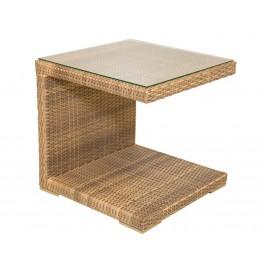 Столик к шезлонгу меланж с каленым стеклом