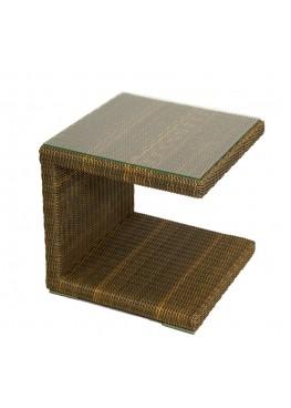 Столик к шезлонгу люкс бронза с каленым стеклом