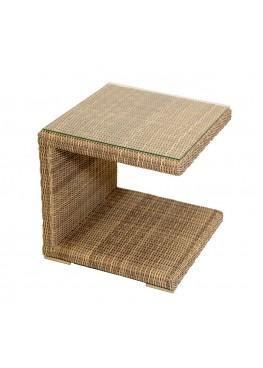 Столик к шезлонгу люкс меланж с каленым стеклом